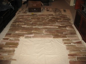 Great way to start your fireplace project. Lay them out first to ensure all the pieces fit together nicely.