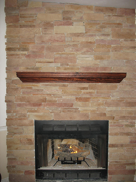 Stone Veneer Fireplace : How to use thin veneer stone on an indoor fireplace