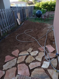 Systematic procedure on laying a patio using thin stone veneer ...