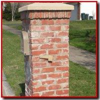 Thin brick veneer applied to a mailbox post