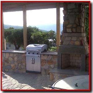 Finished thin stone veneer fireplace